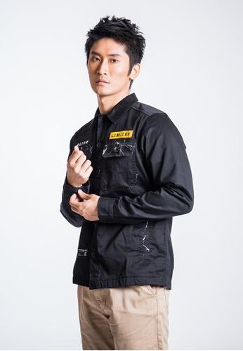 L.I.M.I.T.E 黑色 男裝刺繡章拼雲石布恤衫褸 08ACBAAC2480BAGS_1