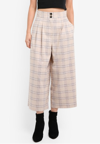 TOPSHOP beige Light Check Crop Wide Trousers TO412AA0SIX0MY_1