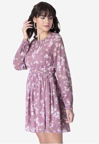 FabAlley pink Dusty Pink Floral Ruffled Dress CE2D1AA514F609GS_1