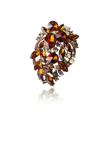 Glamorousky brown Fashion and Elegant Plated Gold Geometric Brown Cubic Zirconia Brooch 1C2D4ACEC734D7GS_1