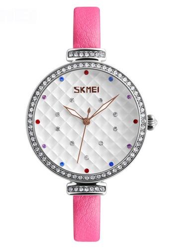 Digitec pink Skmei - Jam Tangan Wanita - Silver - Baby Pink Leather Strap - 9142-E AB574AC3CAF3C6GS_1