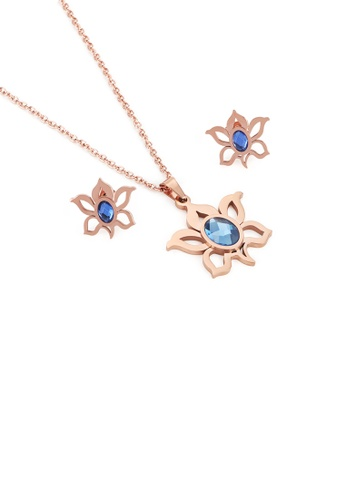 Glamorousky blue Fashion and Elegant Plated Rose Gold Flower 316L Stainless Steel Necklace and Stud Earrings with Blue Cubic Zirconia 68521ACEA46569GS_1