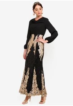 60751c816b Zalia black and gold Placement Sequin Cowl Neck Dress 662F7AA8B2EBCEGS 1