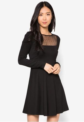 Alma 網眼拼肩長zalora 心得 ptt袖洋裝, 服飾, 洋裝