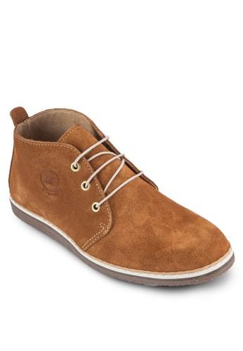 三眼繫帶麂esprit服飾皮踝靴, 鞋, 鞋