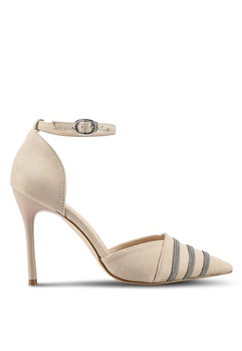 Something Borrowed beige Striped Heels with Ankle Strap EAA7DSH5EEE9CEGS_1