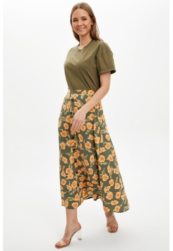 DeFacto green Printed Midi Skirt 2F5CCAADC712D0GS_1