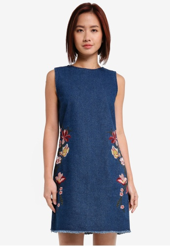 ZALORA blue Embroidered Dress 6C322AAE089B1CGS_1