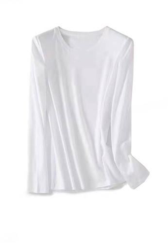 Twenty Eight Shoes white VANSA Round Neck Mercerized Cotton Long-sleeved T-Shirt VCW-Ts0001U AA4F5AA214059FGS_1