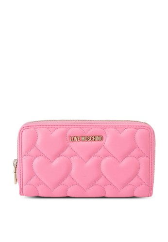 Love Moschino pink Heart Quilted Long Zip Around Purse 7296CAC32BE16AGS_1