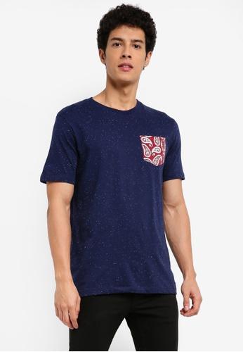 MANGO Man 藍色 短袖口袋印花T恤 CD480AAEED38ABGS_1