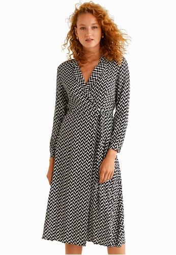 Mango black Print Wrap Dress 2CFB3AAC05C2B7GS_1