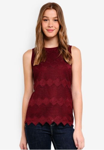 Dorothy Perkins red Chevron Lace Shell Top 2FAFBAAD368A7BGS_1