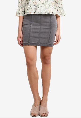 Something Borrowed grey Seam Detail Denim Mini Skirt 426B1ZZE3C31FCGS_1