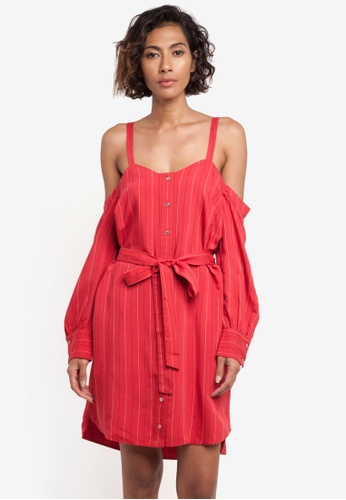 River Island red Cold Shoulder Shirt Dress RI009AA0RLSOMY_1