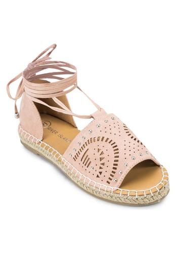鐳zalora 順豐射雕花繫帶麻跟鞋, 女鞋, 鞋