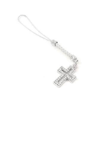 Glamorousky silver White Strap with Cross Charm by Silver Austrian Element Crystals CA1B5ACB109285GS_1