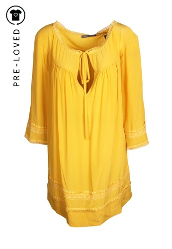 Alberta Ferretti yellow Pre-Loved alberta ferretti Yellow Silk Mini Dress 725ACAA9B1B66BGS_1