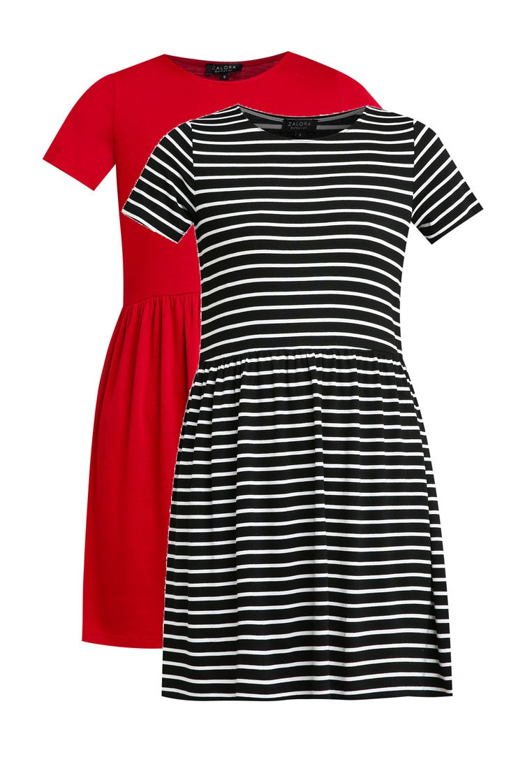 Pack amp; 2 Burgundy Baby Black ZALORA Dress Stripe Doll White BASICS Essential dzzwqT