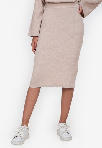 ZALORA BASICS brown Knitted Skirt 1AF0CAAB3CCC4BGS_1