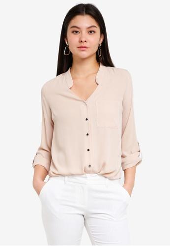Dorothy Perkins white Stone Notch Neck Rollsleeve Shirt 3E2F3AA847D126GS_1