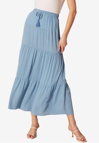 LC WAIKIKI blue Tassel Detail Viscose Skirt D10FAAAF6787DAGS_1