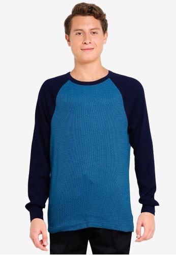 GAP blue Colourblock Waffle Raglan Sweater 2D2D4AAE63B9D8GS_1