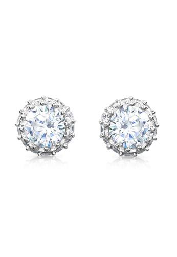 SO SEOUL silver Halo Round Cut Diamond Simulant Stud Earrings 86D5AAC7E56E89GS_1
