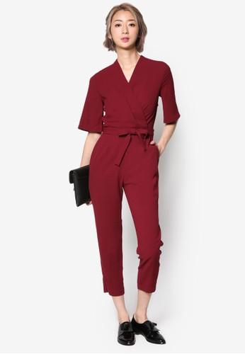 裹飾繫帶短袖連身長褲, 服esprit outlet 台灣飾, 迷你裙