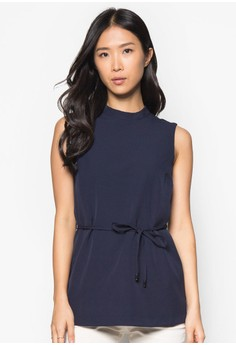 Collection High Neck Top With Waist Tie