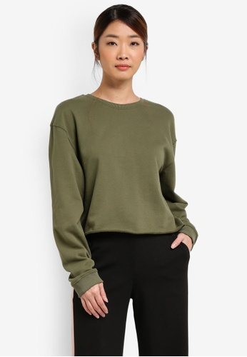 Miss Selfridge green Core Crop Sweatshirt MI665AA0T09AMY_1