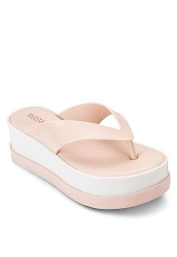 雙色厚底楔形夾腳涼鞋, esprit女裝女鞋, 鞋