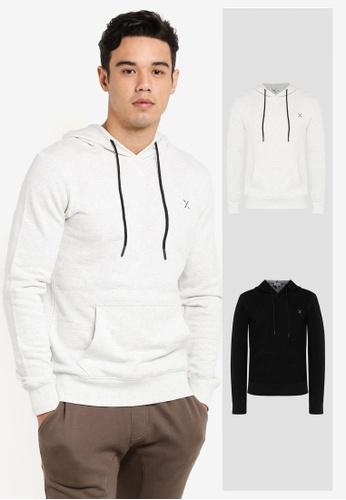 JAXON black and grey 2 Pack Hooded Logo Pullover JA171AA0F56GSG_1
