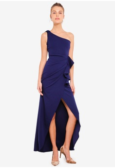 a42ae25f04 15% OFF Goddiva One Shoulder Maxi With Frill Pleat Dress RM 259.00 NOW RM  219.90 Sizes 8 10 12 14 16
