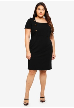 2c2bfe13f2d Dorothy Perkins Plus Size Black Button Side Dress RM 189.00. Sizes 22