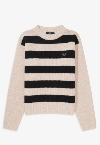 Fred Perry K8110 - Stripe Crew Neck Sweater - (Iced Pink Marl) ABF86AAE5293B4GS_1