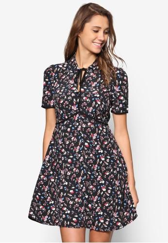 碎花繫帶洋裝esprit hk store, 服飾, 洋裝