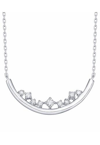 Smiling Rocks 白色 10K白金0.10克拉實驗室培植鑽石雨滴系列項鍊 F6AB6AC5FC7050GS_1