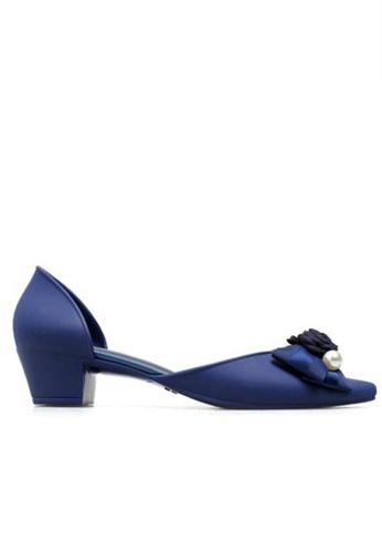 Halo blue Bow Waterproof Jelly Shoes 61423SH0E8B6D4GS_1