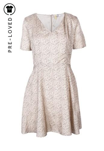 Carven beige Pre-Loved carven Beige Silk Dress With Black Velvet Dots A1708AAC913244GS_1