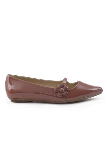 Shu Talk 褐色 漆皮尖頭低跟鞋 SH544SH09S4LTW_1