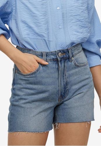 H&M blue Slim Denim Shorts 78E1BAAFEDAEECGS_1