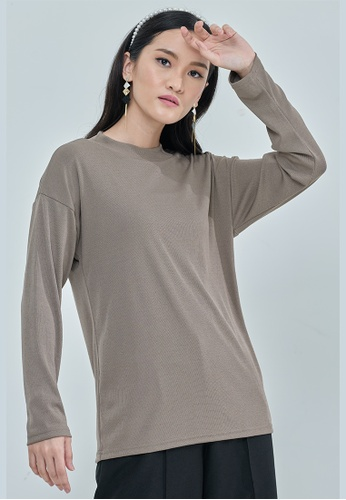 MC Vogue brown Sand Lisa Ribbed Top 399D1AA6737CA3GS_1
