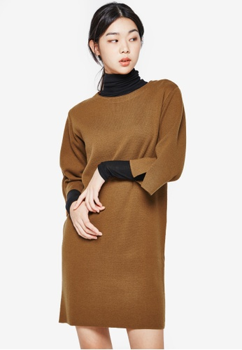 NAIN brown Slit Sleeves Shift Dress NA323AA0S6ASMY_1