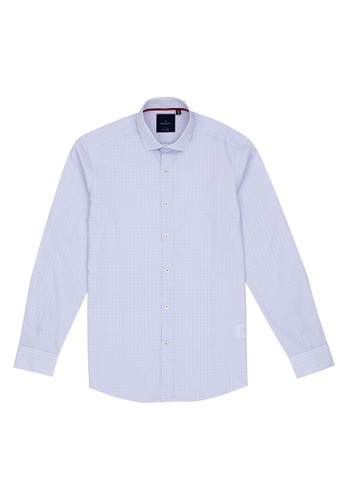 Benjamin Barker white Nouchi Easy Iron Graph Check Shirt 841ACAA987E242GS_1