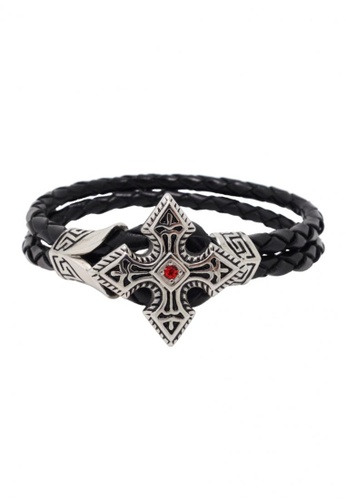 Jaysa Collection black Warrior Cross With Red Zirconia Leather Bracelet JA875AC57ZRYSG_1