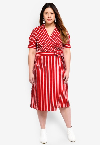 53c96326c80 Violeta by MANGO red Plus Size Striped Wrap Dress A7CF8AAD765C83GS 1