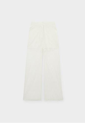 Pomelo beige Sheer Lace High Waist Pants - Cream 4232BAA456BA6DGS_1
