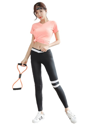 YG Fitness multi (3PCS) Quick-Drying Running Fitness Yoga Dance Suit (Tops+Bra+Bottoms) 21E56USD705963GS_1