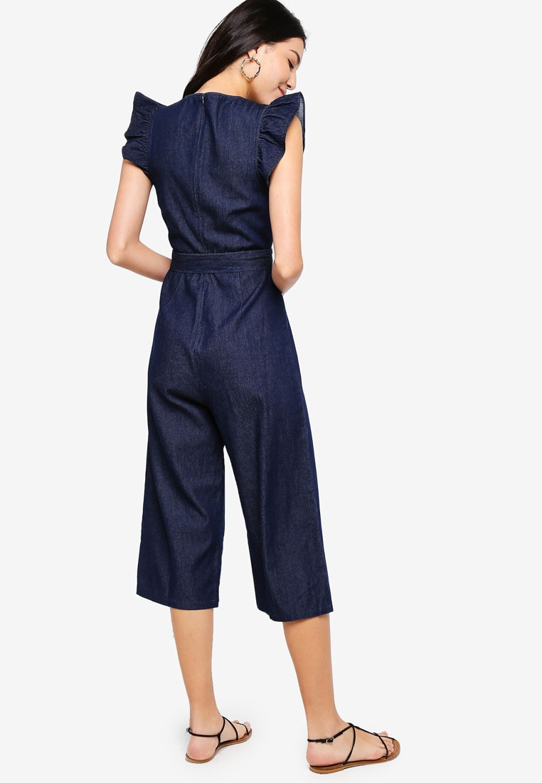 Denim Dark Navy Jumpsuit ZALORA Sleeves Ruffle q1BxaR